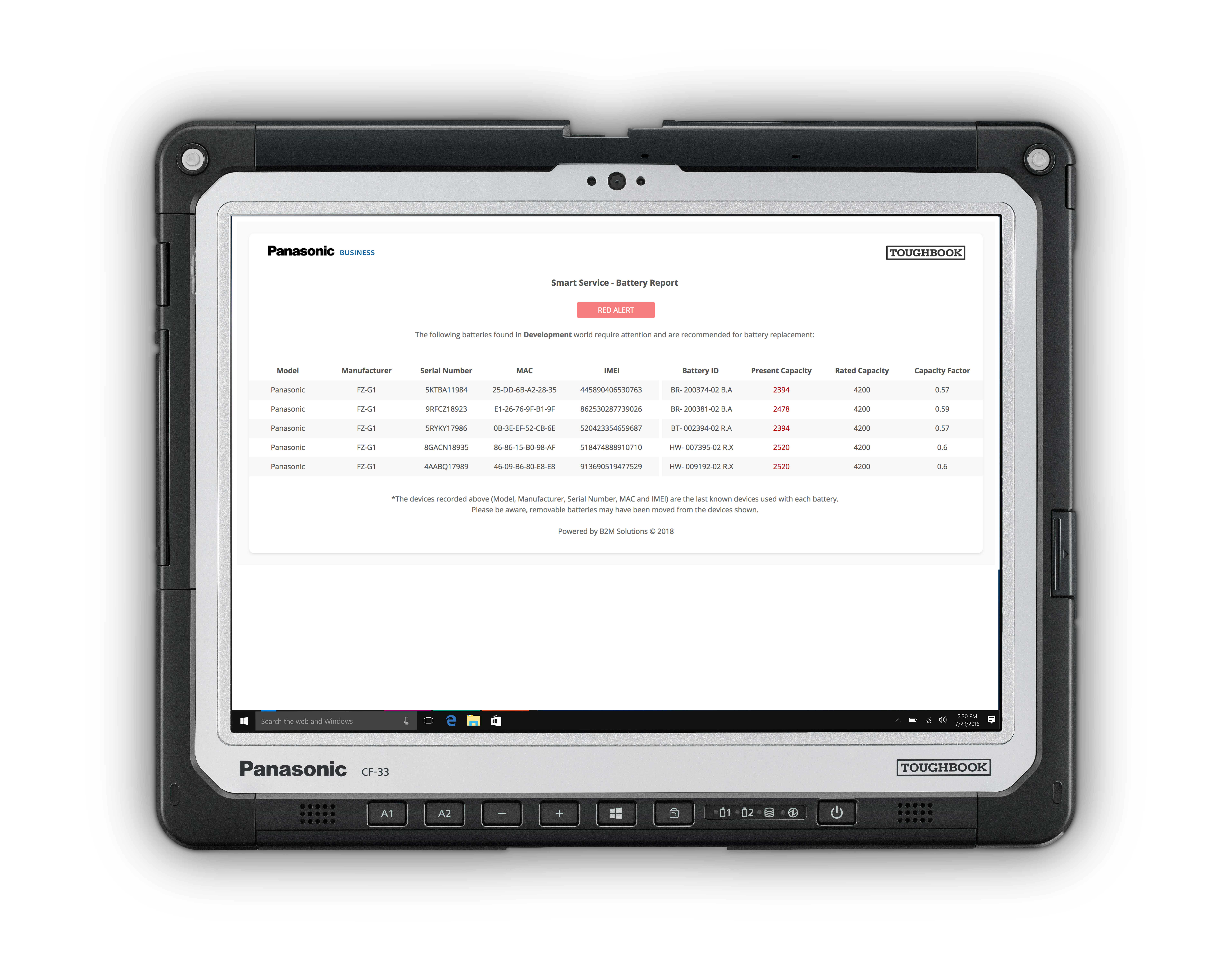 CF-33 tablet with Smart Service Lite Dashboard