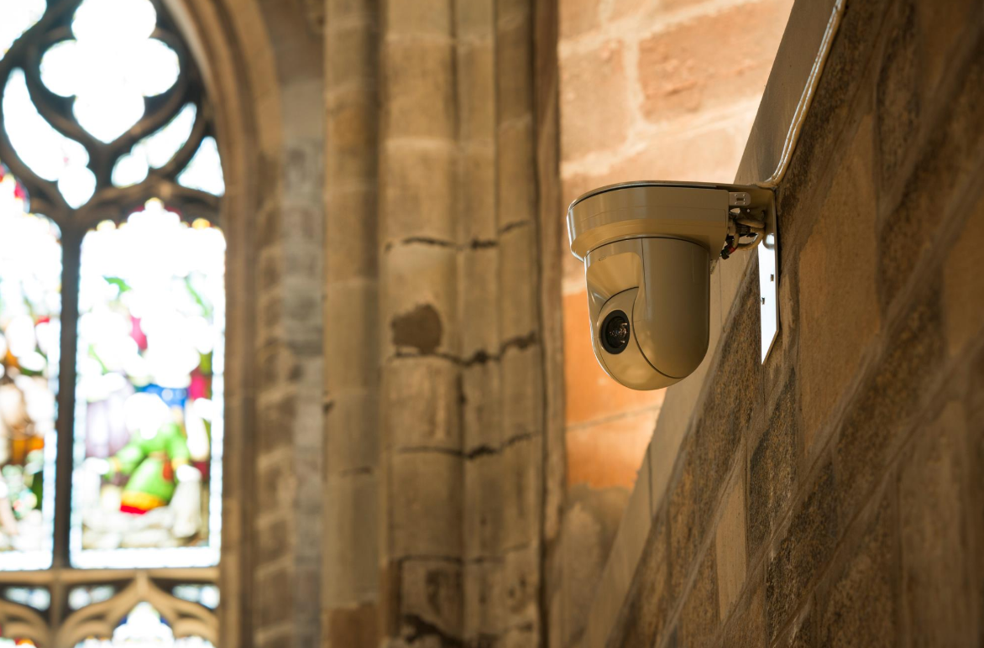 Panasonic Remote PTZ Full HD cameras used to capture high quality video in a church building.