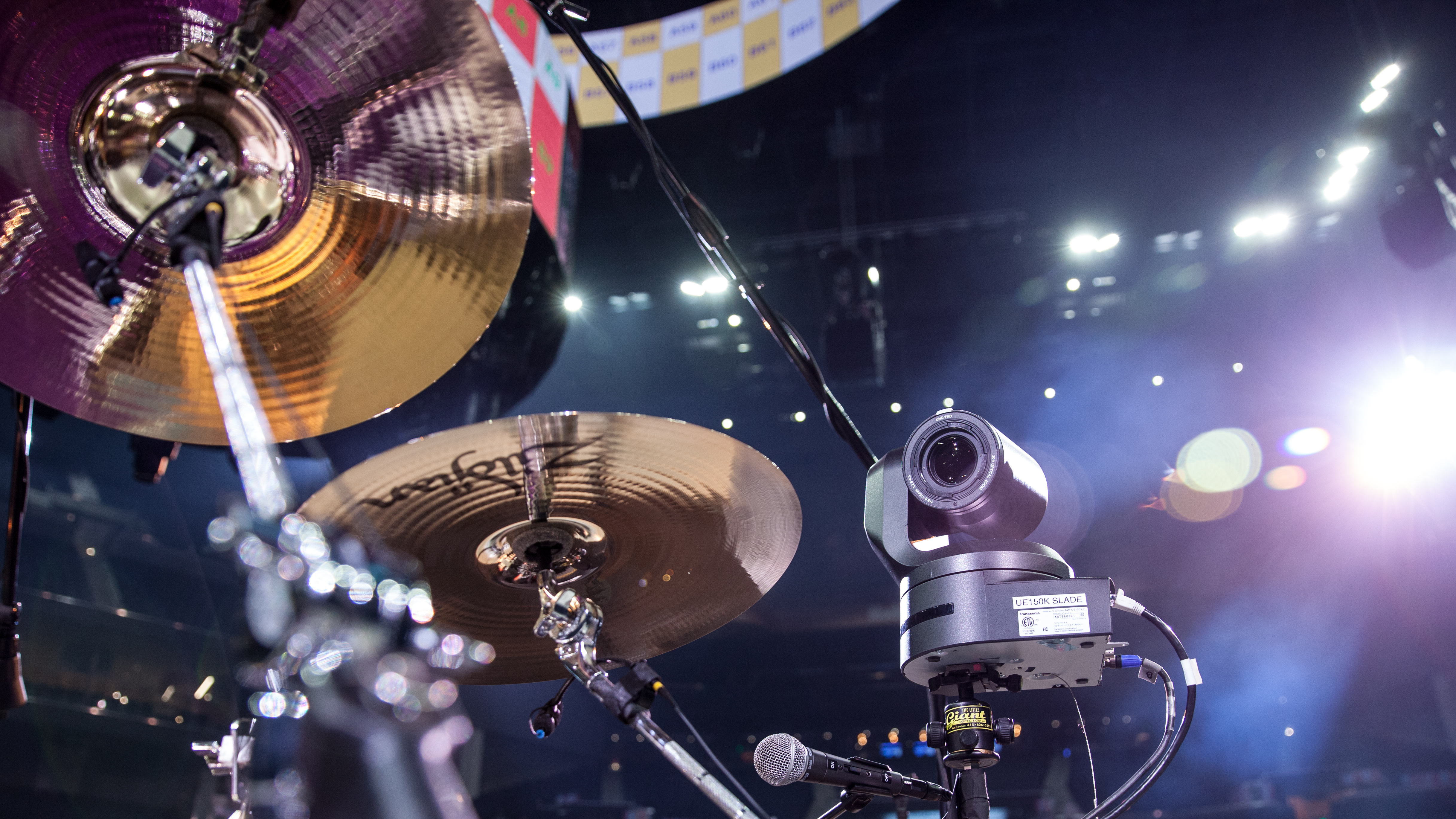 UE150 camera pointed at a drum set