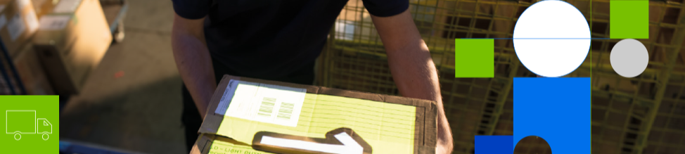 bachground image of a person carying a box in a warehouse