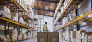Panasonic B&I. Worker in a warehouse moving boxes