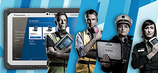 Panasonic Toughbook. Four people using different products from the Mobile solutions division