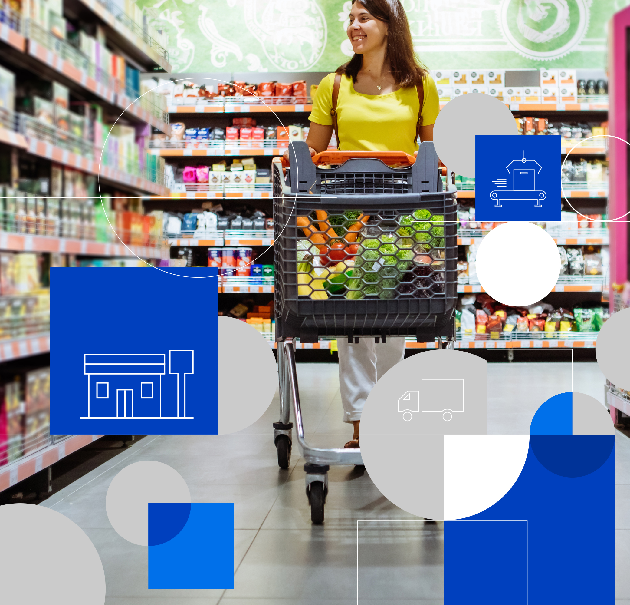 Gemba Process Innovation. Person shopping with a shopping cart
