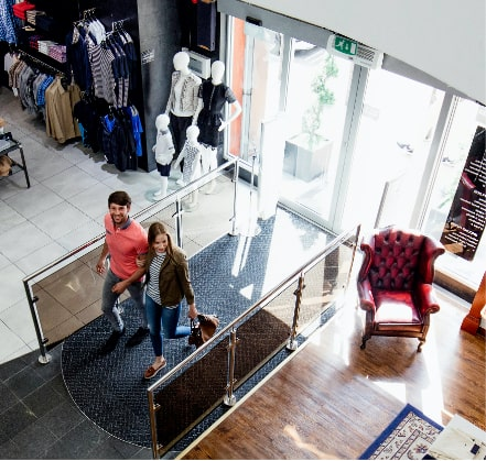Customers entering store