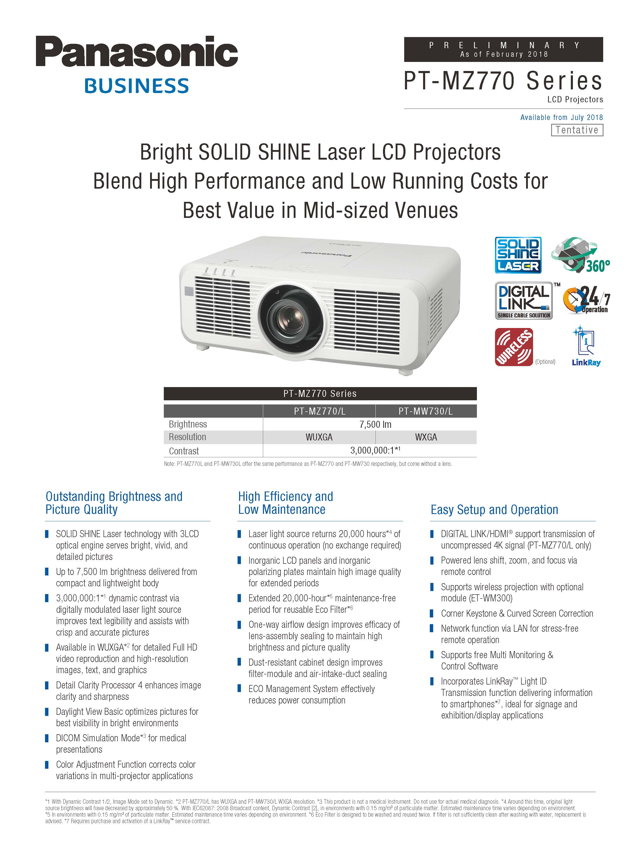 PT-MW730 - Visual System Solutions | Panasonic Business